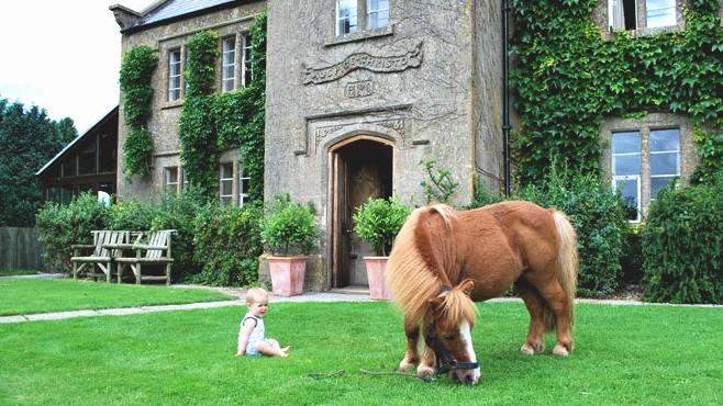 Baby on lawn with small horse, who is eating grass, infront of country house, Toghill House Farm, Bath, Bristol, Cotswolds